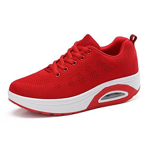 Hasag Zapatos voladores de Mujer nuevos Zapatos de Suela Gruesa Zapatos Deportivos Respirables red