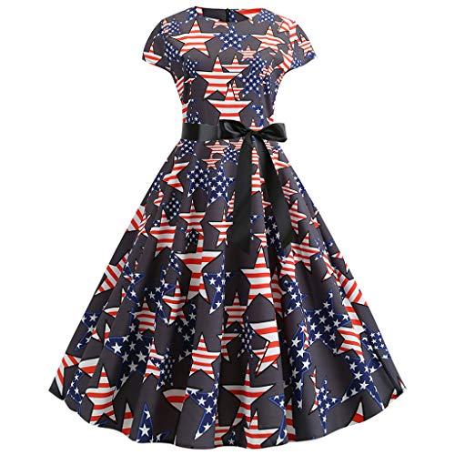 Women's Vintage Dresses 1960s Rockabilly Cap Sleeve Retro USA Flag Printed Party Swing Dress