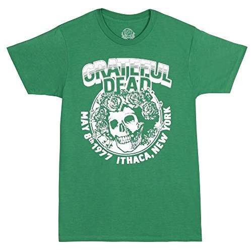 T-shirt 1977 Adult (Grateful Dead Bertha 1977 Ithaca NY Adult T-shirt-Green (Medium))