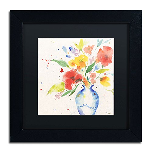 Vibrant Bouquet Framed Artwork by Sheila Golden, 11 by 11-Inch, Black Matte with Black Frame