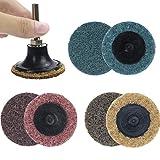 Coceca 36 PCS 2 Inch Roll Lock Sanding Discs(Fine/Medium/Coarse Pads) Quick-change Discs Mix Roll Lock Surface Conditioning Sanding Discs Resin Fiber Disc R-Type
