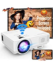 WIFI Projector Jinhoo Upgraded 4500 LUX Wireless Mini Projector 1080P Support 176 Inch Display Compatible with Smartphone, Tablet, TV Stick, Game Player, USB, TF Home Theater Projector White.
