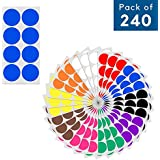 "2"" Round Color Coding Circle Dot Sticker Labels - 10 Assorted Colors, Pack of 240"