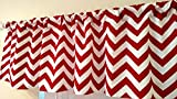 Curtains and Valances Chevron red Curtain valance, window treatments, red & white zig zag, stripes, kitchen, kids, nursery, playroom , daycare school,
