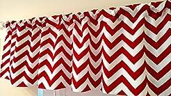 Chevron red Curtain valance, window trea...