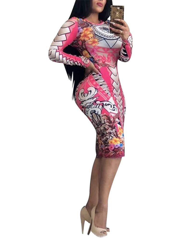 Women\'s Long Sleeve Bodycon Dresses - Unique Floral Pattern Sheath Midi Dresses Small Pink