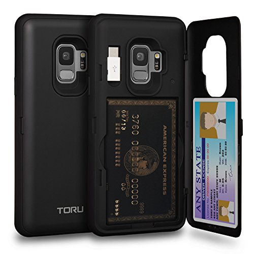 TORU CX PRO Galaxy S9 Wallet Case with Hidden Credit Card Holder ID Slot Hard Cover, Mirror & USB Adapter for Samsung Galaxy S9 - Matte Black