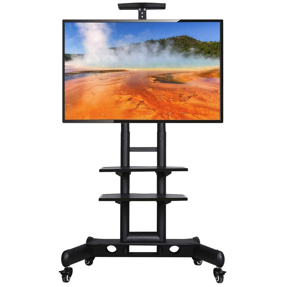 Yaheetech 32 to 65 Inch Multi-Functional Universal Flat Screen TV Carts Stand Mobile Rolling TV Stand on Wheels with Mount for LED LCD Plasma Flat Panels with Heavy Duty Base Stand and Storage Shelves by Yaheetech