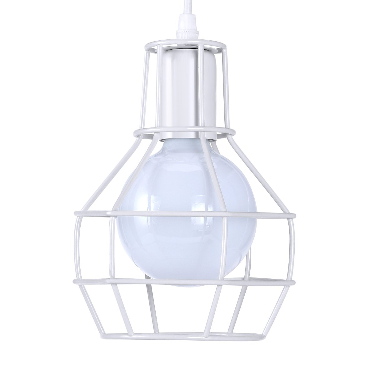 KAWELL Creative Vintage Pendant Light Industrial Retro Chandelier E26/E27 Bulb Base Metal Net Cage for Kitchen, Bedroom,Cafe, Restaurant,Bar, Picture Display (White)
