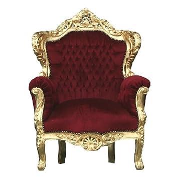 Prunk Sessel Barock Stil Louis Xiv Antik Look König Bordeaux Rot