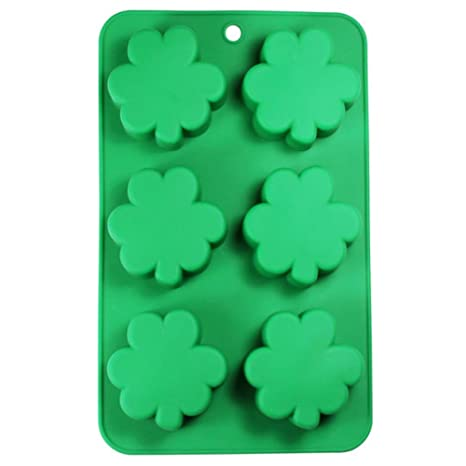 St Patrick S Day Shamrock Clover Leaf 6 Cavity Silicone Mold Baking Party Candy Cake Making Molds