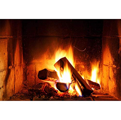 SZZWY Countryside Old Fireplace Burning Timbers Bright Fire Flame Blackened Hearth Backdrop Vinyl 10x8ft Child Kids Adult Portrait Background New Year Families Gathering Studio Props Rural