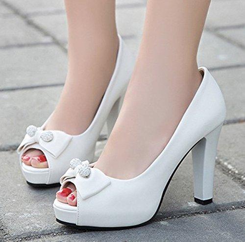 Nœud Simple Blanc Toe Peep Easemax Talon Femme Haut Escarpins xa41qnH
