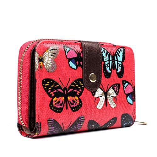 Femme Éclair À Lulu Portefeuille Butterfly butterfly pois Motif Fermeture Pour Miss papillons Floral Plum chevaux Plum éléphants WIqYT1wI