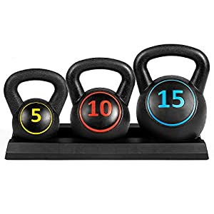 Best Choice Products 3 Piece HDPE Kettleball Exercise Fitness Weight Set for Full Body Workout w/ 5lb, 10lb, 15lb Weights, Wide Grips, Base Rack Black