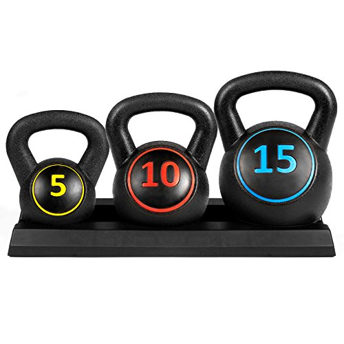 Best Choice Products Fitness HDPE 3 Piece Kettlebell Weights Set W/ Base Rack