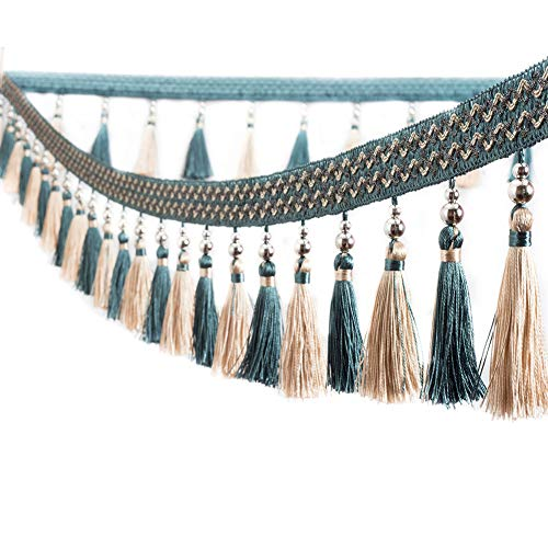 Trycooling 12.5 Yard Multicolor Beaded Hanging Ball Tassel Fringe Trim for Curtain Home Decoration (Dark Blue)