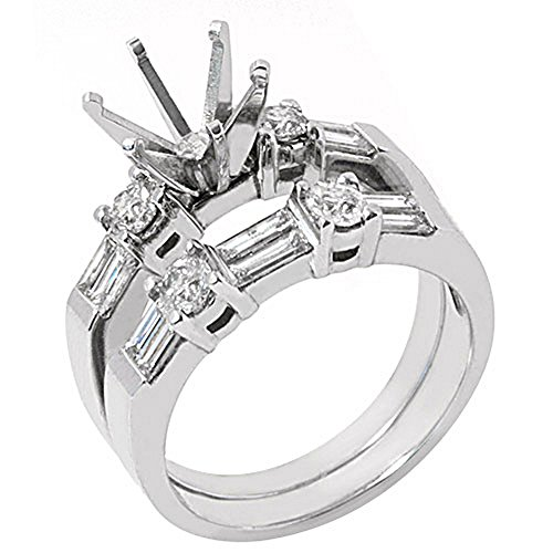 14k White Gold Baguette Round Diamond Engagement Ring Semi Mount Set 1.26 Carats