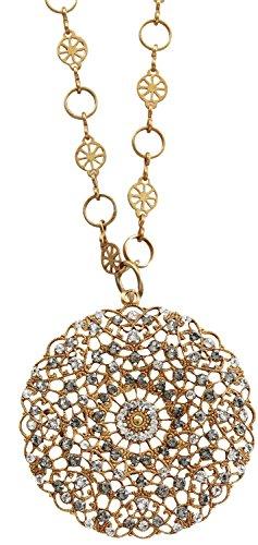 Catherine Popesco Goldtone Filigree Round Large Lace Medallion Necklace, 16