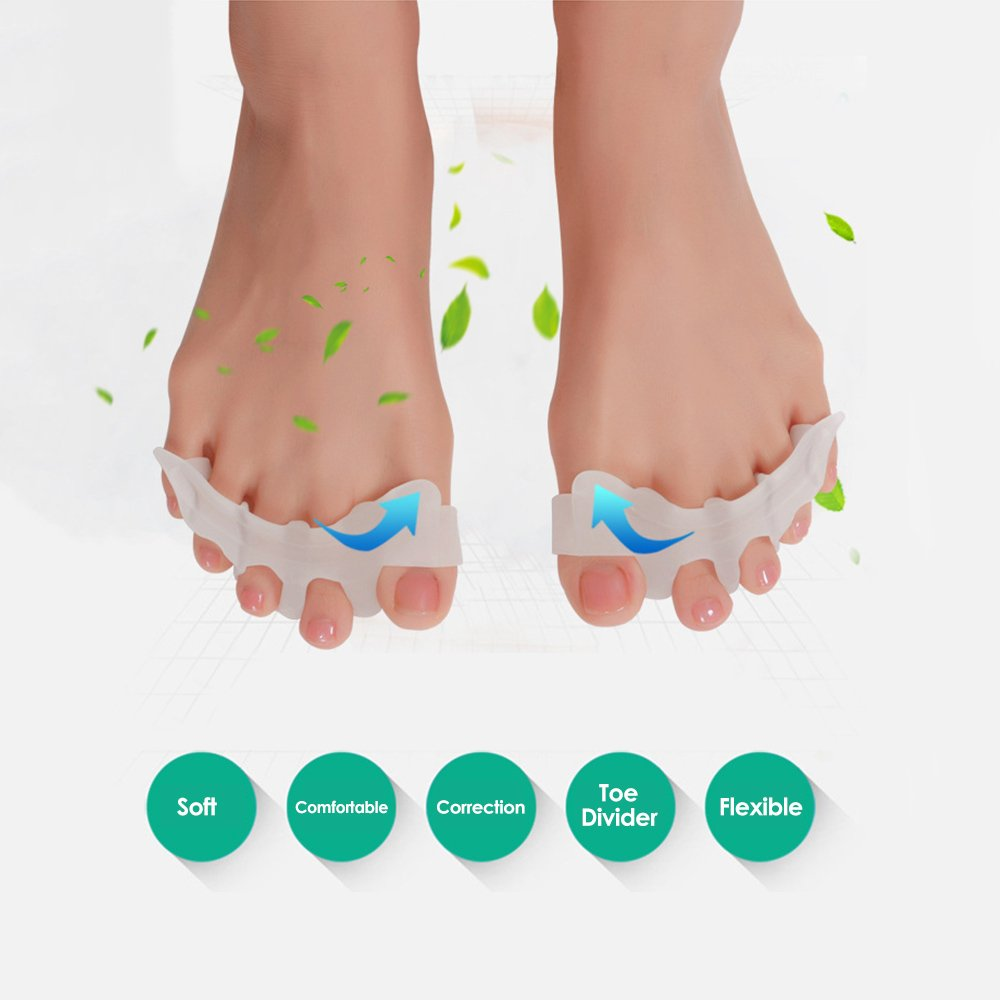 Anself 1 Pair Hallux Valgus Protector Gel Finger Toe Separator Divider Bunion Orthopedic Adjuster 4 Holes Thumb Valgus Guard W4535-WO3Y5G