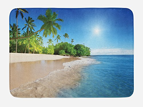 Blue Bath Mat by Ambesonne, Ocean Tropical Palm Trees on Sun