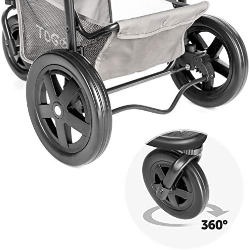 51Q2KNCqyuL. AC - Hauck TOGfit Pet Roadster - Luxury Pet Stroller For Puppy, Senior Dog Or Cat | Easy Foldable Three Wheels Travel Pet Jogger Max. Loading 70 Lb, Mattress Included - Gray