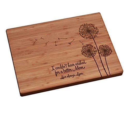 Personalized cutting board mothers day dandelions