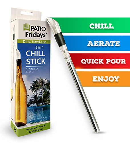 Iceless Wine Chiller Stick by Patio Fridays, Deluxe 3 in 1 Stainless Steel Wine Bottle Chiller Stick with Aerator and Pourer for chilling, pouring and aerating wine, keeps your wine chilled longer!