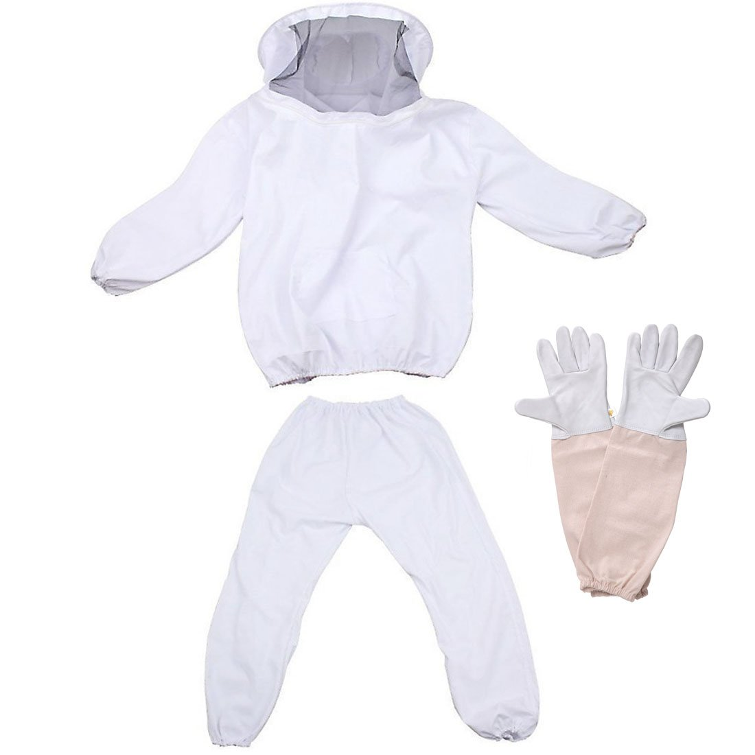 Feekr Professional Beekeeping Suit Jacket with Pants and Goat Skin Long Sleeve Gloves, Medium(White)