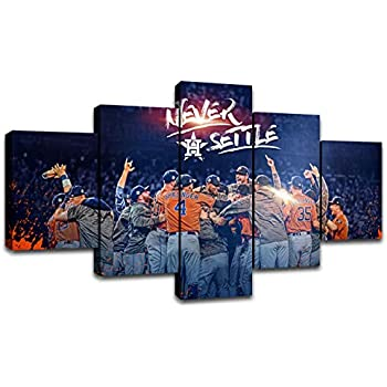 MIAUEN Wall Art Canvas Prints Houston Astros MLB Baseball Team Poster with Frame Pictuers Painting Wall Decor Decoration Ready to Hang(60''Wx32''H)