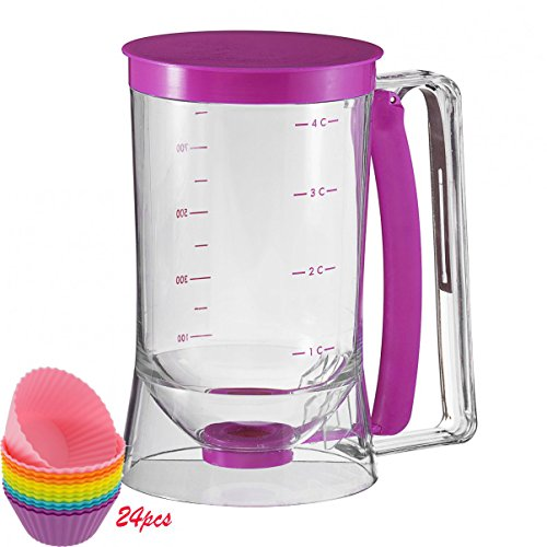 Holuck Cake Batter Distributor Batter Dispenser with Measuring Label DIY Cake Pancakes,with24 silicone baking cups (Funnel Cake Batter Dispenser compare prices)