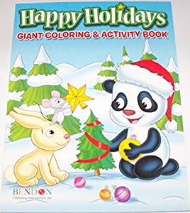 Happy Holidays 160 Page Giant Coloring And Activity Book Christmas Edition Animals Decorating Tree