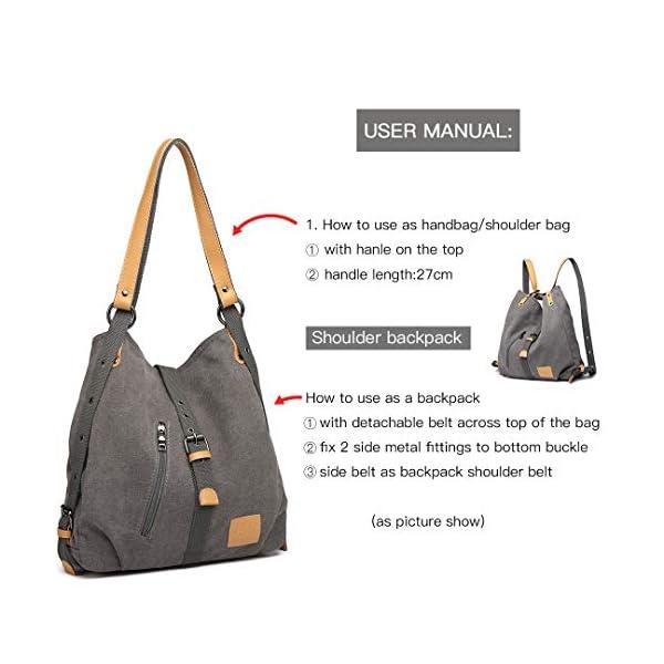 Kono Sac à bandoulière dos, multi fonctionnel polyvalent sacs à main en toile pour les filles femmes, Crossboby sacs…