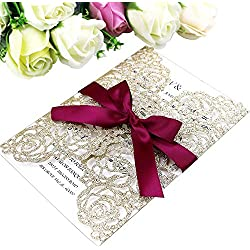 PONATIA 25PCS/Lot 250GSM 5.12 x 7.1'' Laser Cut Hollow Rose With Burgundy Ribbons Glitter Wedding Invitations Cards For Wedding Bridal Shower Engagement Birthday Graduation Invite (Gold Glitter)