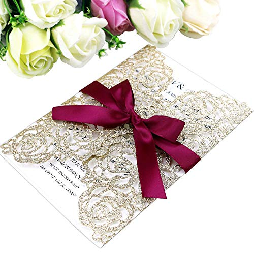 "PONATIA 25PCS/Lot 250GSM 5.12 x 7.1"" Laser Cut Hollow Rose With Burgundy Ribbons Glitter Wedding Invitations Cards For Wedding Bridal Shower Engagement Birthday Graduation Invite (Gold Glitter)"