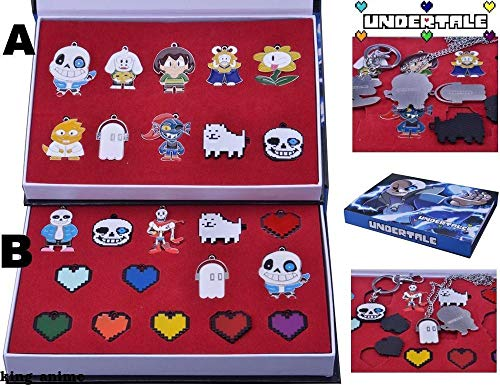 Momoso_Store undertale necklace keychain set cosplay collection necklace frisk toriel omega temmie pendant keychain custume accessories -
