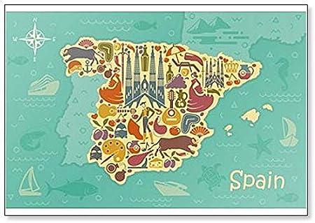 Imán para nevera con diseño de mapa de España con paisajes españoles, símbolos y atracciones, ilustración clásica: Amazon.es: Hogar