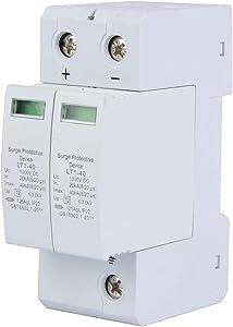 Voltage Surge Arrester Device, 2P Surge Protective Device DC Photovoltaic Lightning Protector Low-voltage Arrester 3.0KV (2P40KA)