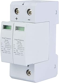 Amazon Com Voltage Surge Arrester Device 2p Surge Protective Device Dc Photovoltaic Lightning Protector Low Voltage Arrester 3 0kv 2p40ka Electronics