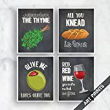 italian chalk board - Italian Dining Series - The Thyme, Knead Love, Olive You, Red Wine (Funny Kitchen Song Series) Set of 4 5x7 inch Unframed Art Prints (Featured color Vintage Chalkboard) Kitchen Art