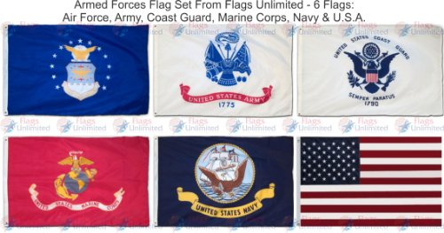 www.usflags.com Armed Forces 6 Flag Set 3 ft. x 5 ft.