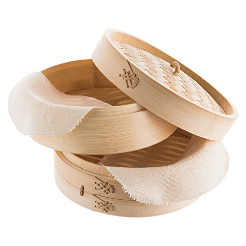 Reishunger Bambusdämpfer (Ø 20 cm, 2 Etagen) für Reis, Dim Sum, Gemüse, Fisch und Fleisch, inkl. 2 Baumwolltüchern, für 2 Personen