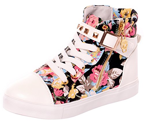 Serene High Top Sneakers For Women and Girls With Lace-up In Canvas and Leather Floralwhite IeswJS