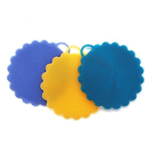 Purpose Dish Brush (Silicone Food-grade Antibacterial Dishwashing Scrubber Non Stick Multi-purpose Cleaning Kitchen Dish Brush, Mildew-free and BPA Free (Blue+Yellow+Purple))