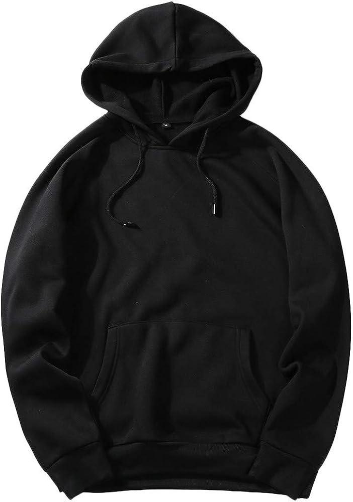 B07Y8LGXTK JOYFEEL Men's Fleece Casual Loose Fit Hooded Sweatshirt Long Sleeve Solid Color Hoodie Pullover Blouse 51Q2M1NaNVL