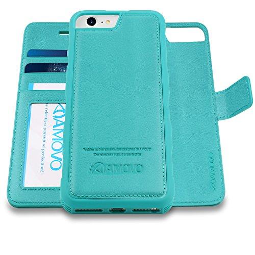 AMOVO Case for iPhone 8 [2 in 1], iPhone 8 Wallet Case [Detachable Folio] Premium Vegan Leather Case for iPhone 8/iPhone 7/iPhone 6 (iPhone 8/7/6 (4.7) Aqua)