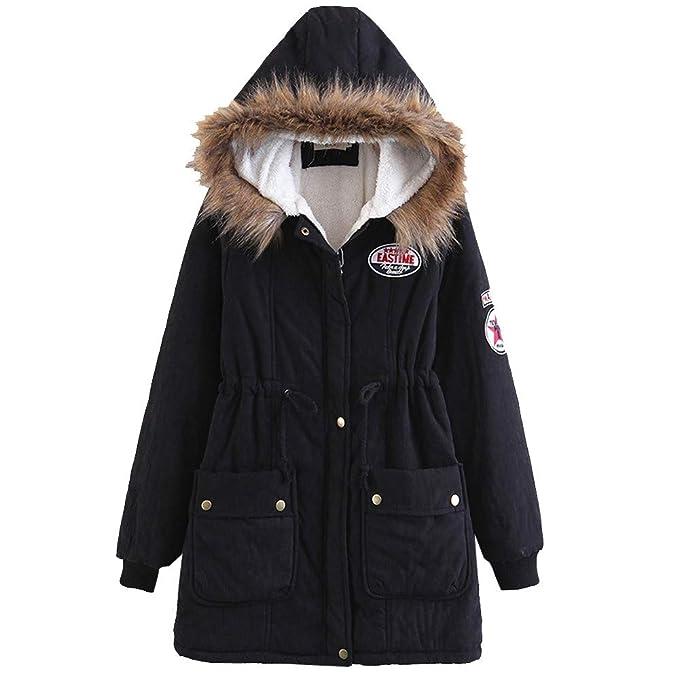 Abrigo con Capucha Cuello de Piel para Mujer, abrigado Abrigo Largo Cuello de