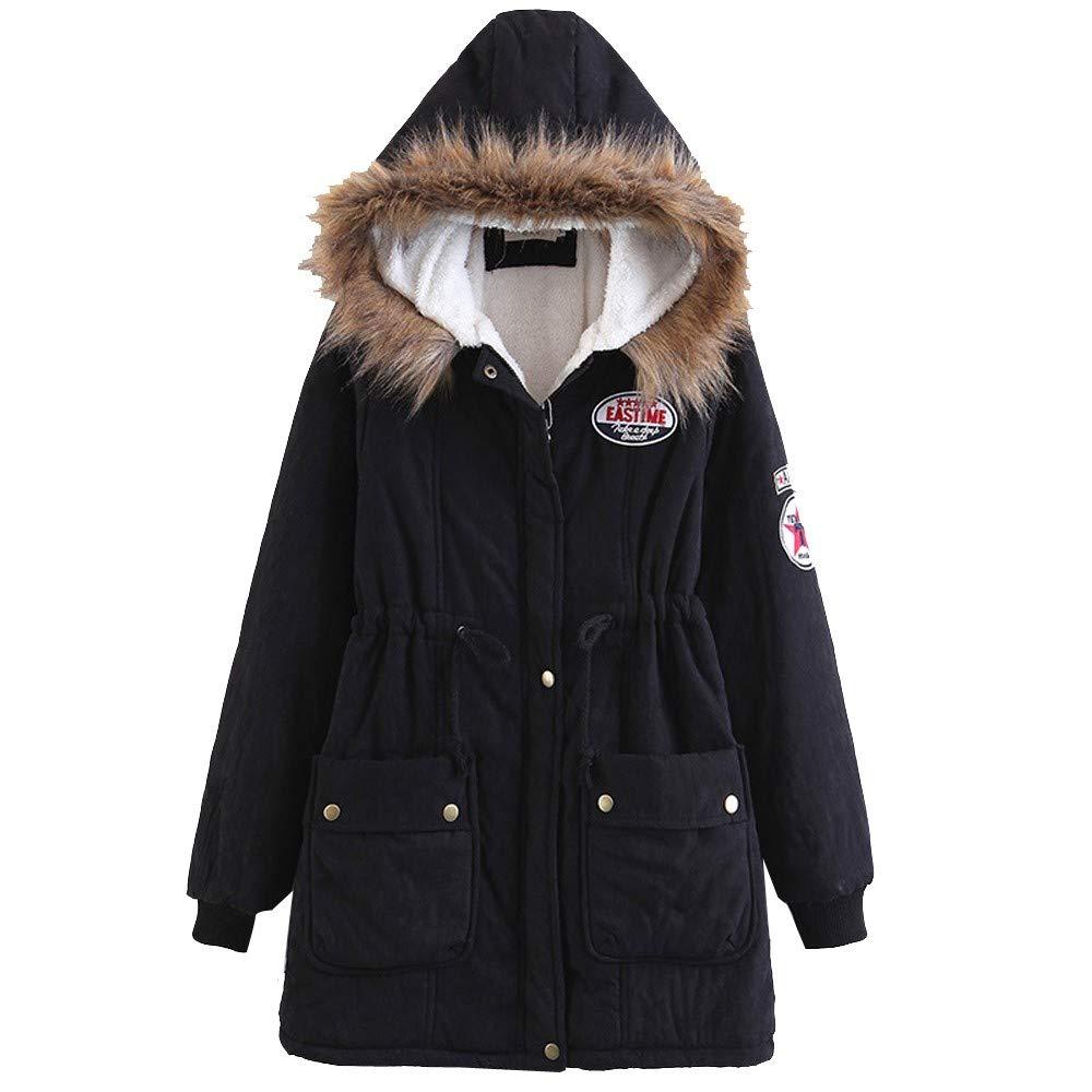 Ankola Hooded Coat Women Winter Warm Hoodie Faux Fur Lined Down Parka Outdoor Jacket Coats (XXL, Black)