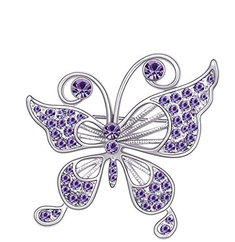 (CNCbetter Women's Noble Swarovski Elements Crystal Lotus Purple Butterfly Brooch Pin White Gold Plated)