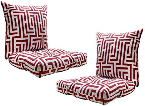FBTS Prime Outdoor Chair Cushion and Outdoor Pillows Pink Houndstooth Pattern Patio Decorative Set